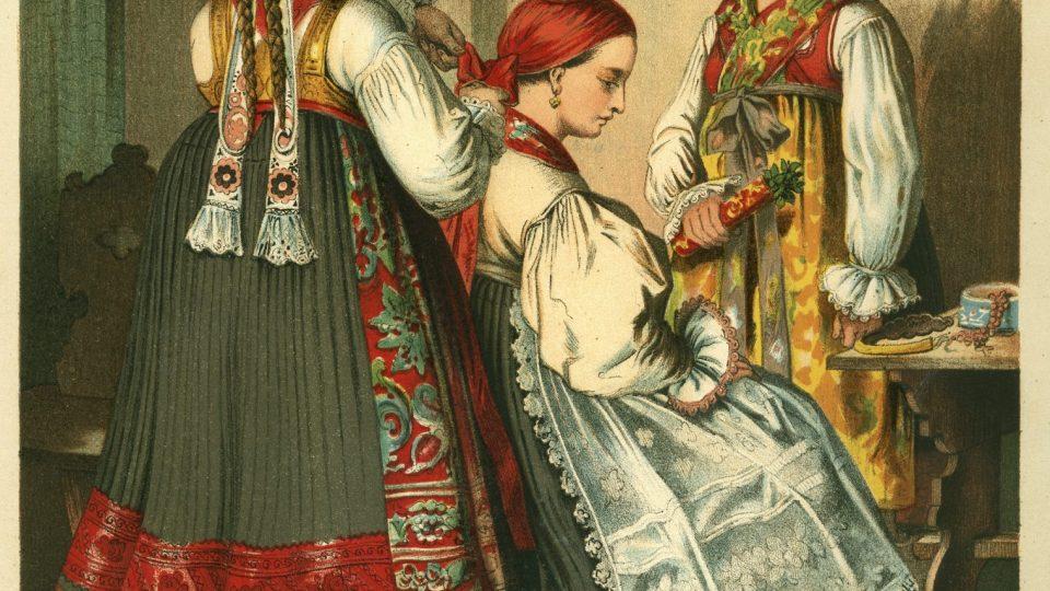 Obraz znázorňující čepení nevěsty v chotěšovském kroji. Barevná litografie od A. Kretschmera. Datováno kolem roku 1860