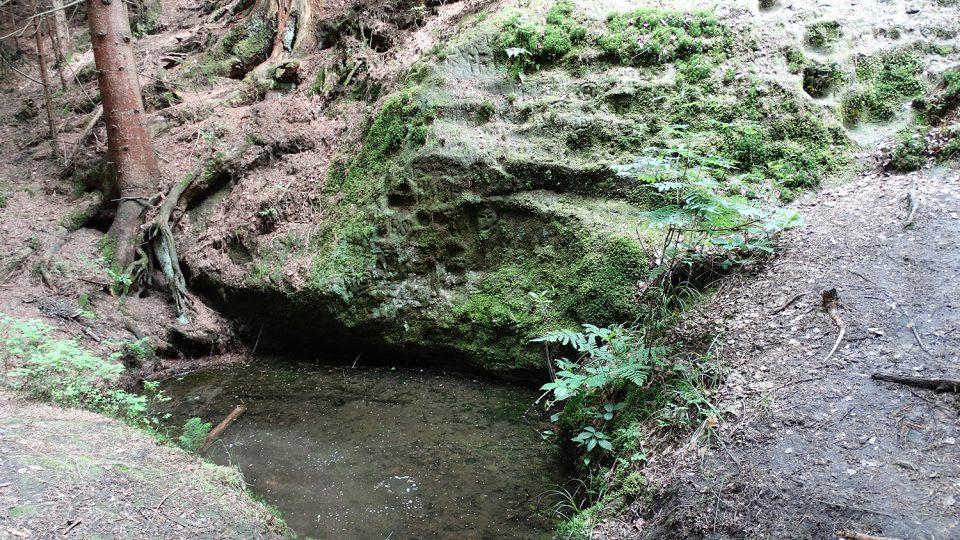 Pramen řeky Svitavy vyvěrá pod touto skálou, z ní teče do tohoto jezírka, zvaného Čertovo