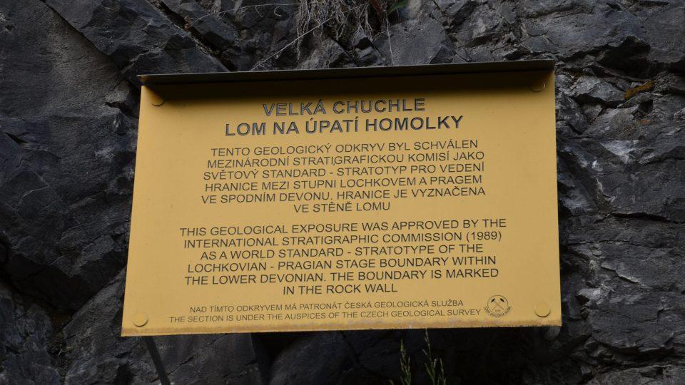 Tabulka informuje o jedinečnosti lomu Homolka
