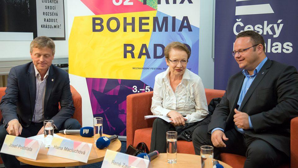 Tisková konference Prix Bohemia Radio 2016 / Josef Podstata, Hana Maciuchová, René Zavoral