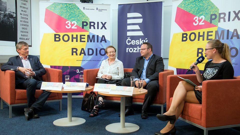 Tisková konference Prix Bohemia Radio 2016: Josef Podstata, Hana Maciuchová, René Zavoral, Kateřina Rathouská