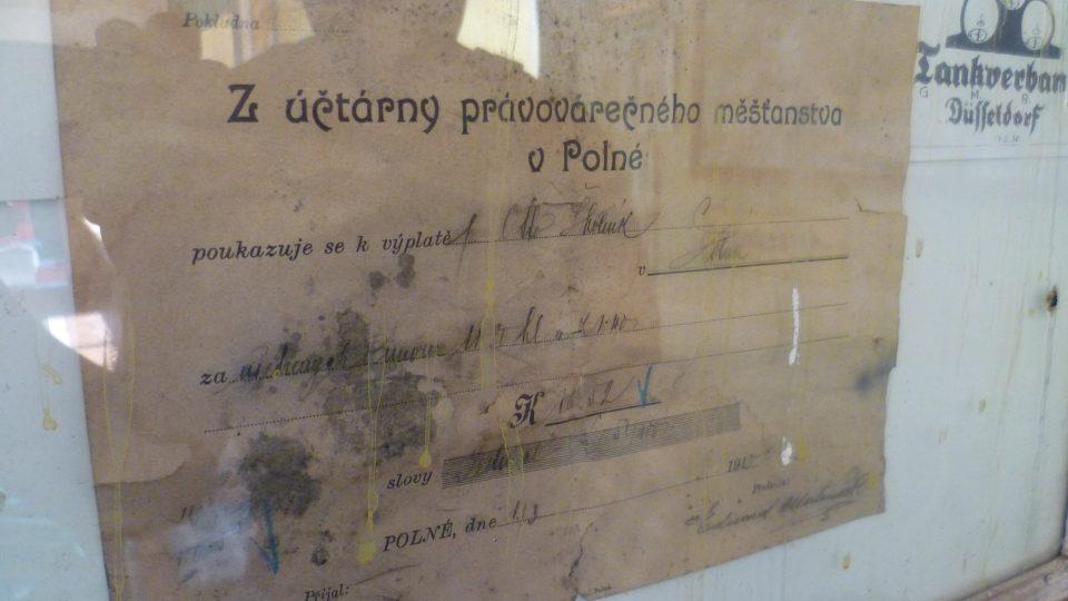Potvrzenka z roku 1910, pivovar Polná