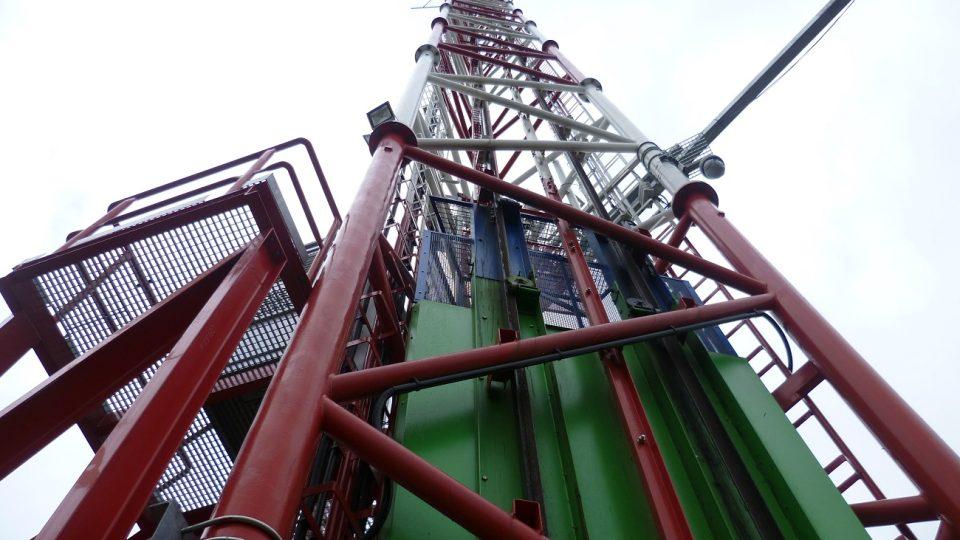 Kabina výtahu v konstrukci stožáru