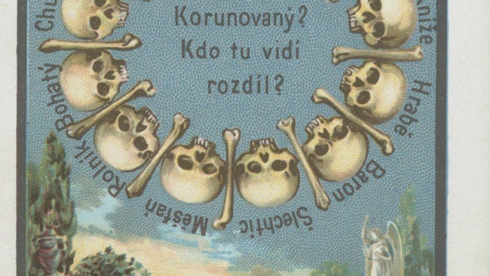 """Barvotisková kartička s tématem """"mementa mori"""" z počátku 20. století"""