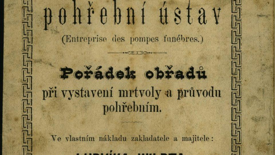 Obřadní pořádek jedné z prvních privátních pohřebních služeb v Plzni Ludwiga Wildta z roku 1878