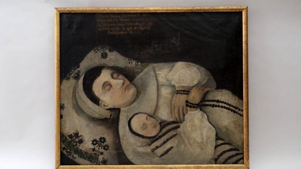 Epitaf Marie Reginy Gerambiové, která zesnula ve 22 letech spolu se svým právě narozeným dítětem mezi 8. a 9. hodinou dopolední dne 16. listopadu 1665