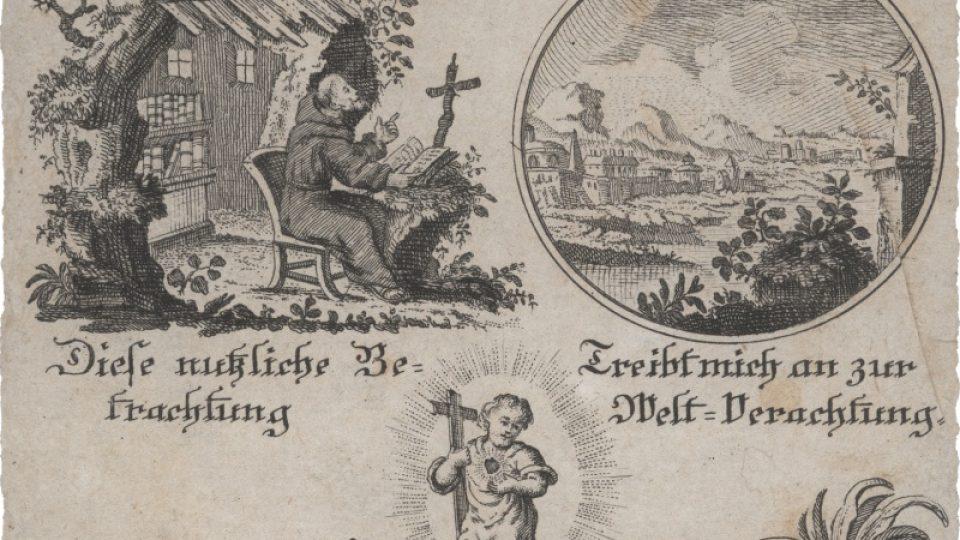 """Novoroční přání s tématem """"mementa mori"""", pocházející patrně z počátku 19. století"""