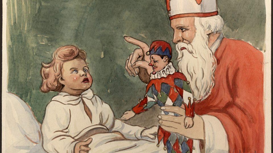Akvarelová kresba od Karla Koubka z roku 1937 zobrazující sv. Mikuláše
