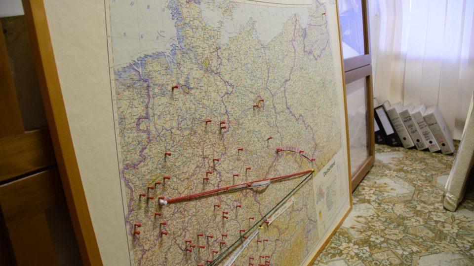 Mapa, kam se dostali vyhnaní Němci z regionu
