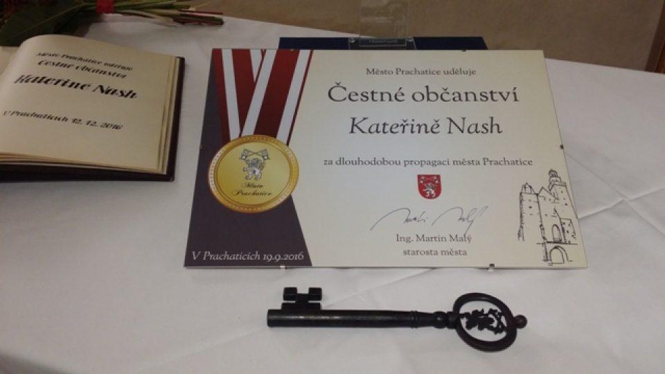Kateřina Nash se stala čestnou občankou Prachatic