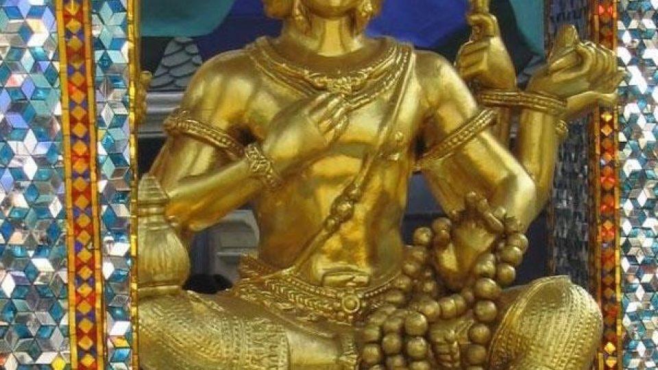 Nejuctívanější hinduistická socha v Bangkoku - Brahma Stvořitel
