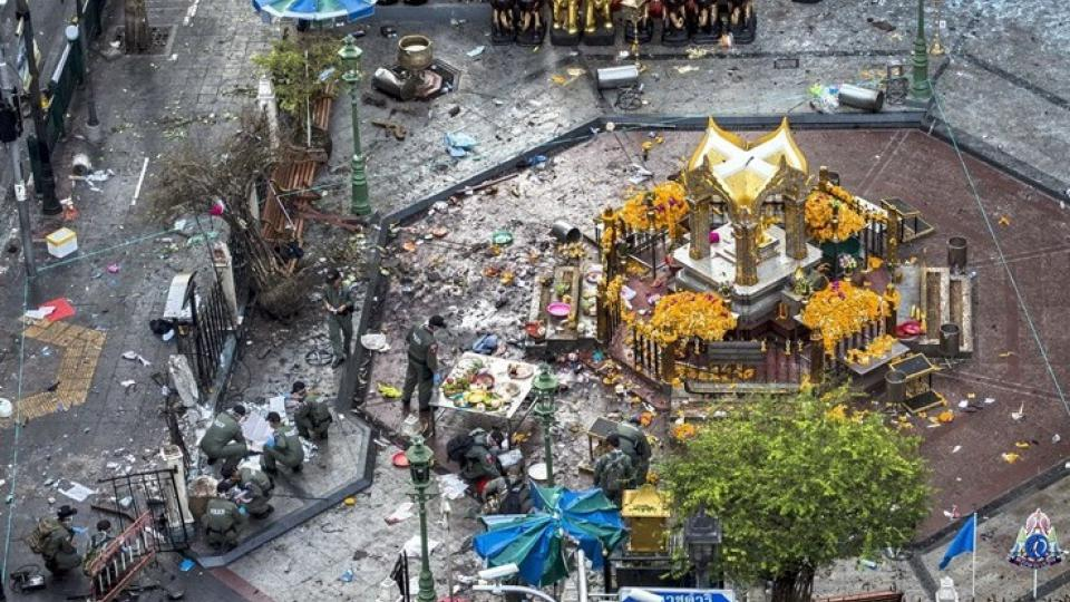 Svatyně Erawan po teroristickém útoku v srpnu 2015