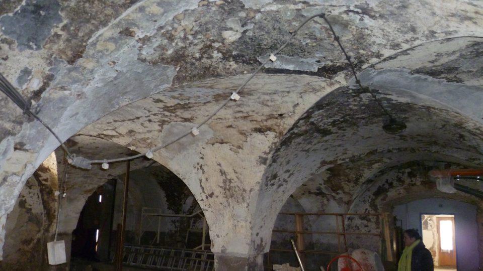 Bývalý panský pivovar v Čechtíně, původní klenby