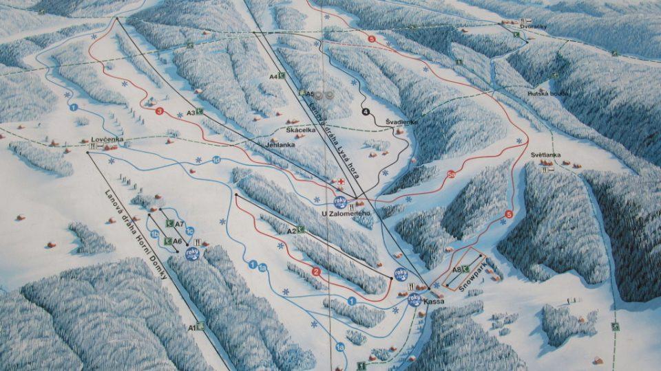 Mapa střediska SKI Rokytnice nad Jizerou