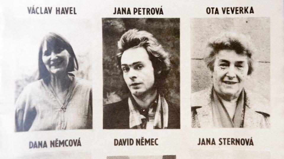 Samizdatový letáček s portréty zatčených ze 16. ledna 1989