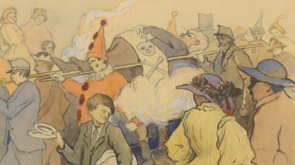 Masopust v Plzni v 60. letech 19. století. Kresba Karel Koubek, 1936
