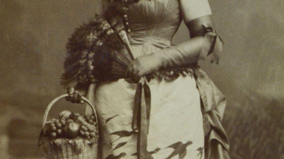 Podzim, paní Luisa Zykmundová-Pernerová. Šaty se dochovaly ve sbírkách Národopisného muzea Plzeňska. Foto Dvořák a Roškota, 80. léta 19. století