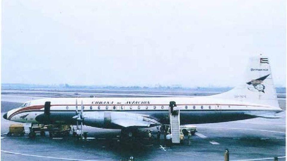 Letadlo, se kterým Miloš přiletěl do Kanady, Bristol Britannia, CUBANA de AVIACION, 1962