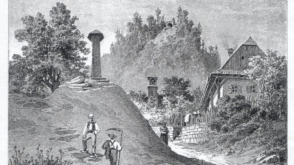 Dobová rytina obce a zříceniny Hradu Žampach
