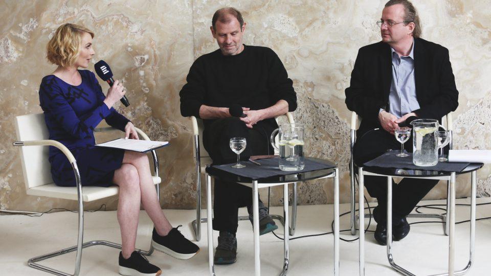 Ivana Veselková, Martin M. Šimečko a Radko Kubičko na Audioportu ve vile Tugendhat