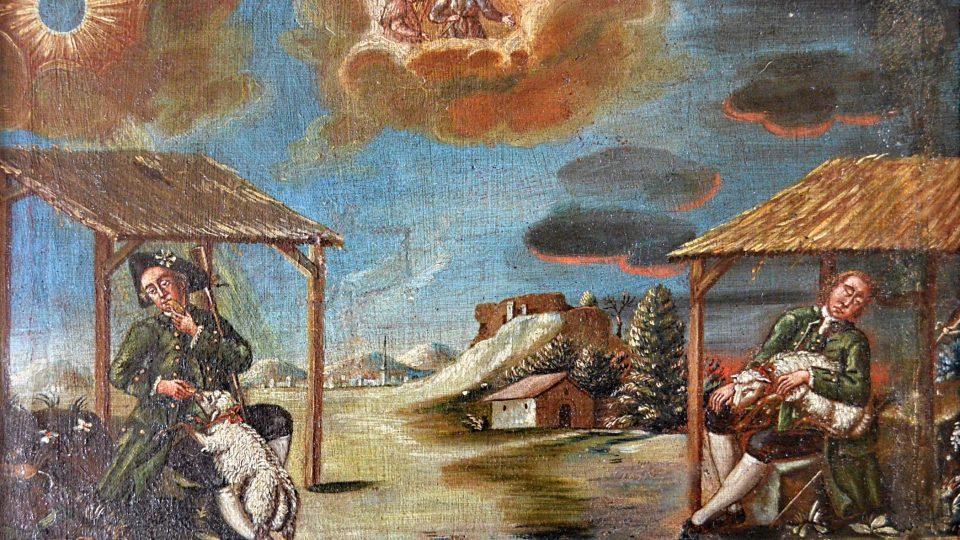 Motiv střídání dne a noci, alegoricky znázorněný dvojicí pastýřských scén. Vlevo vyobrazen pastýř s pastýřskou troubou. Olejomalba na plátně z poloviny 18. století
