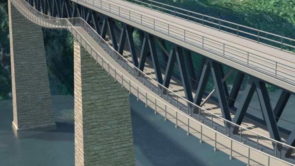 Vizualizace nového mostu přes Hracholuskou přehradu