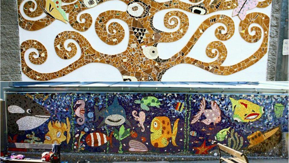 Velkoformátové mozaiky na hřišti v Heroldových sadech