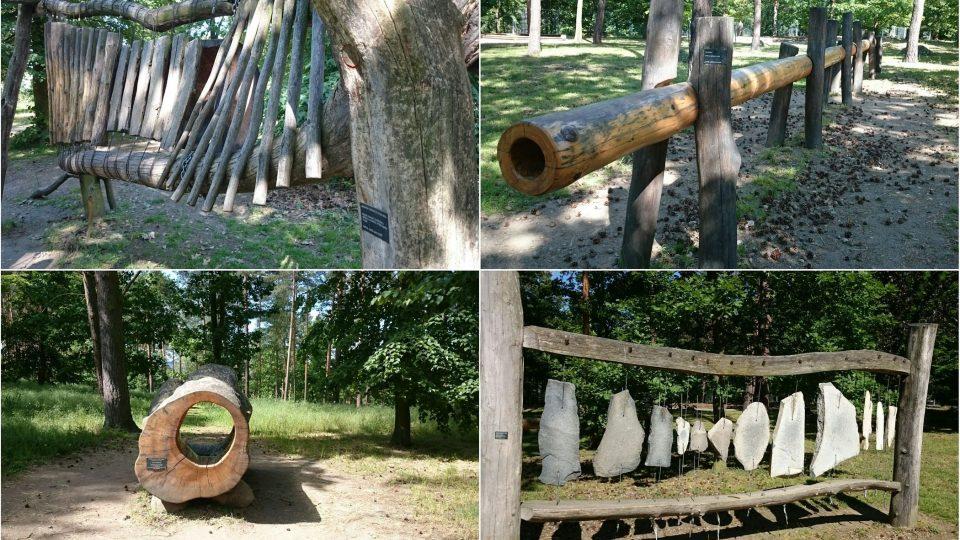 Les plný zvuků - dřevěný xylofon, zvukovod, dutina jasanu a lithofon