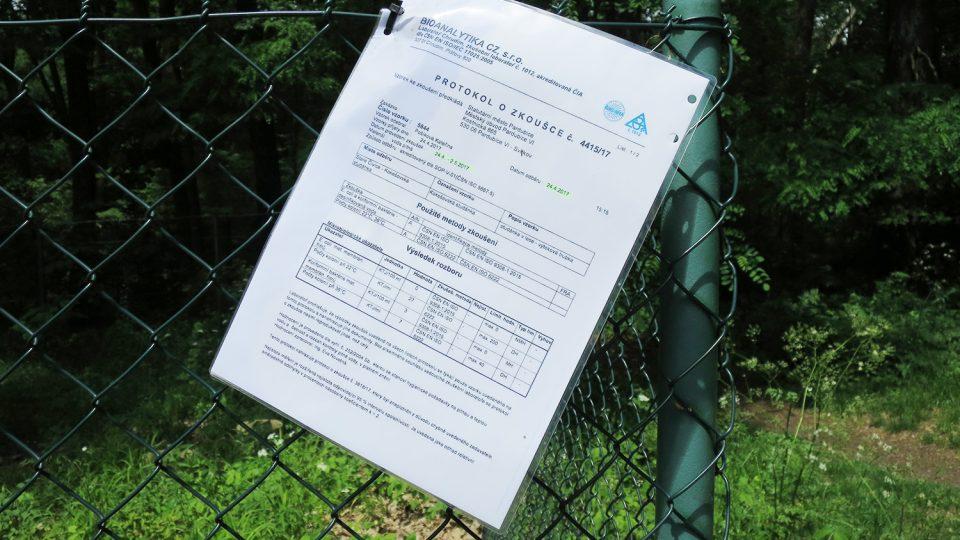 Protokol o kvalitě vody přímo u kokešovské studánky