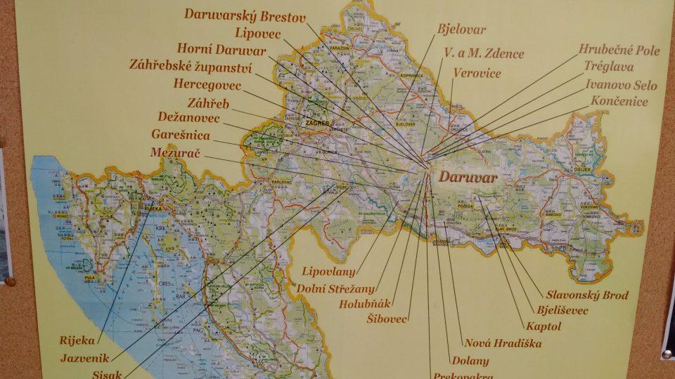 Mapa českých besed v Chorvatsku