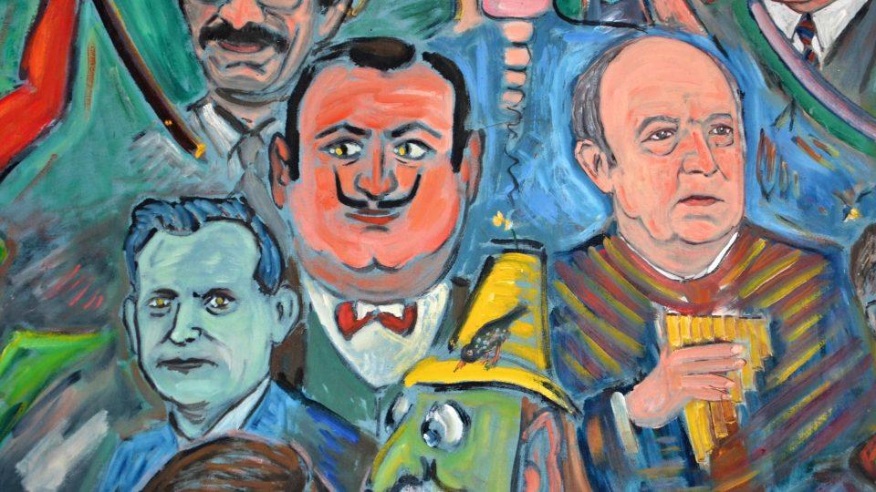 Hercule Poirot zachycený na obrazu v ellezelleském muzeu