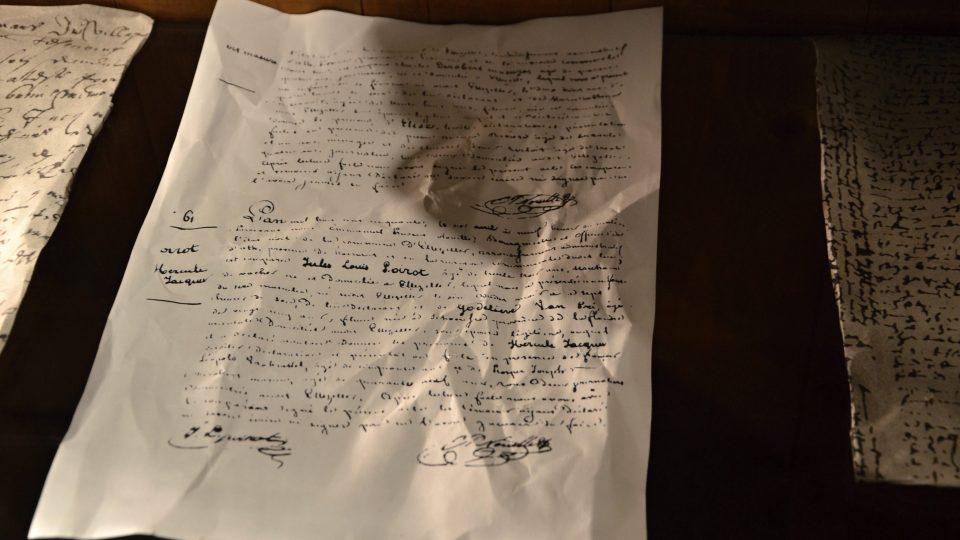 Údajný zápis o Poirotově narození v místní matrice