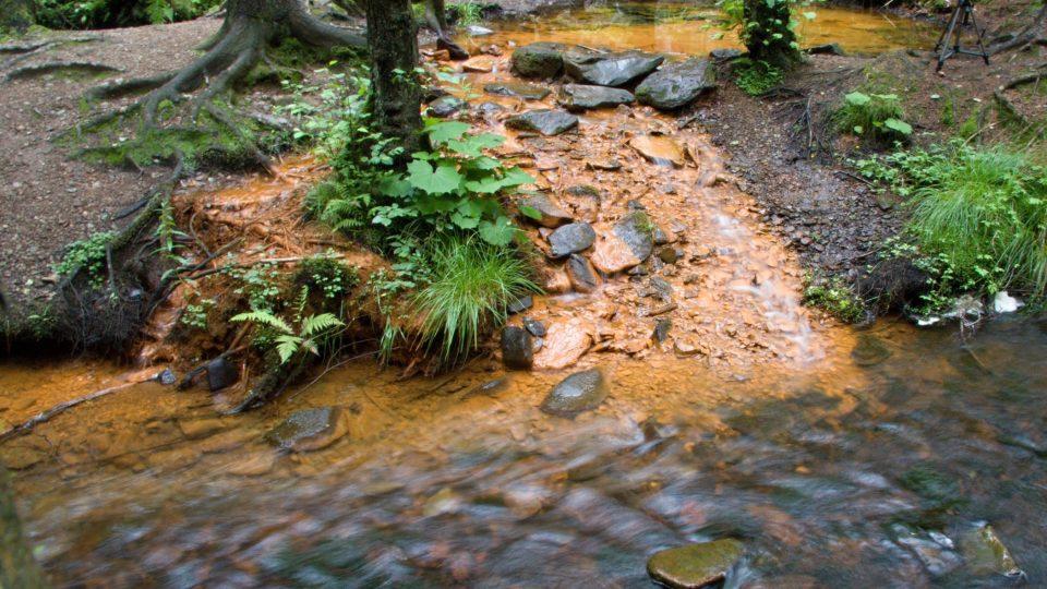 Žlutý sirný pramen se vlévá do tmavého Hamerského potoku