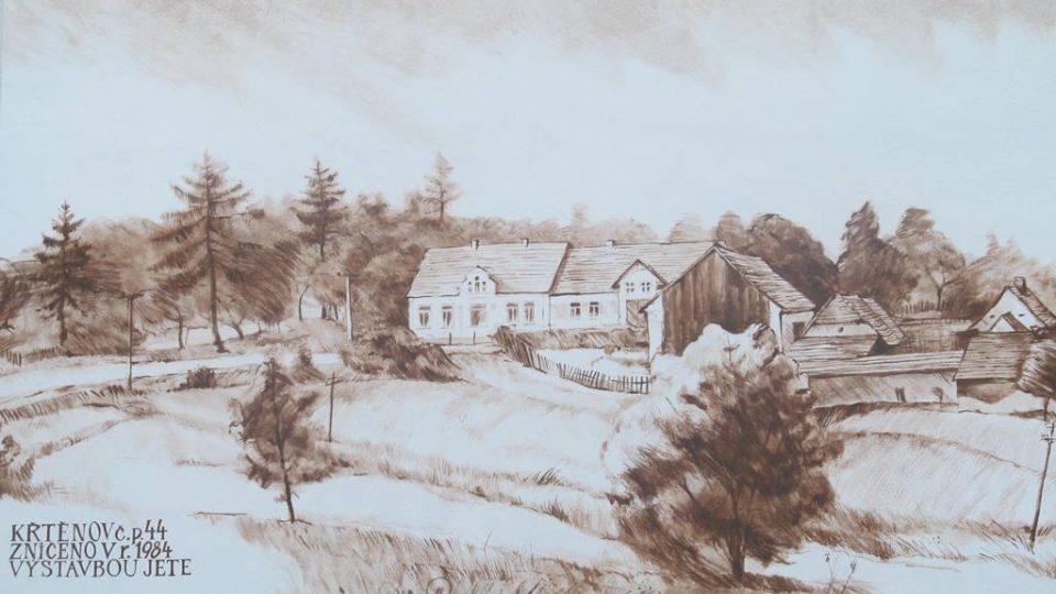 Dům v obci Křtěnov, v němž žila Marie Poláková. Celá vesnice zanikla kvůli výstavbě jaderné elektrárny Temelín