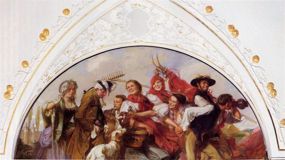 Dožínky, luneta Augustina Němejce v Západočeském muzeu v Plzni