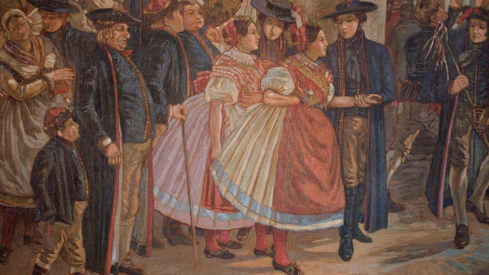 Díky velkému množství vyobrazených svatebních hostů je na obraze zachycen plzeňský kroj v různých variantách a z různých pohledů.