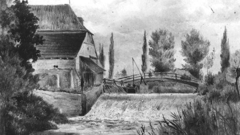 Kalikovský mlýn v roce 1847 na obraze Václava Kroupy. Originál uložen v Národní galerii v Praze