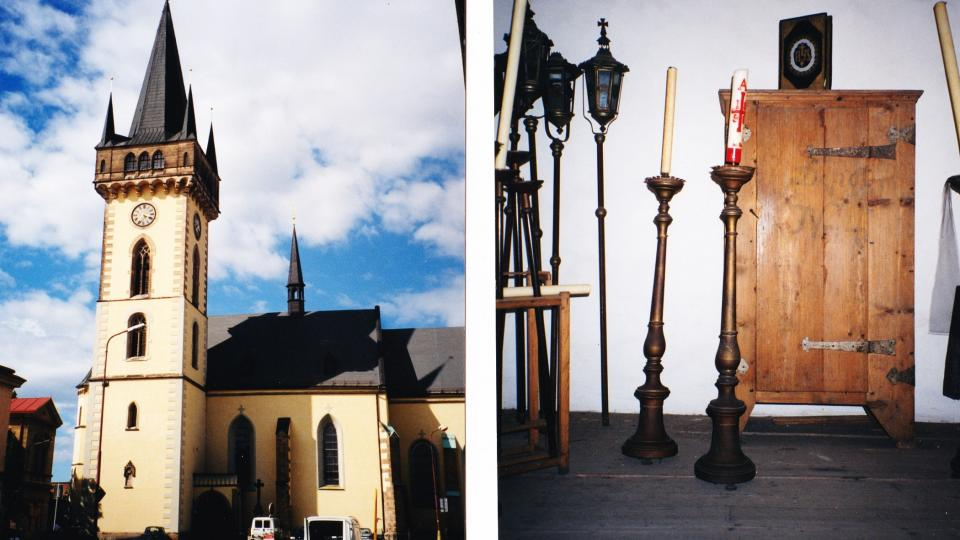 Místo nálezu: kostel sv. Jana Křtitele ve Dvoře Králové a komora v jeho věži.jpg