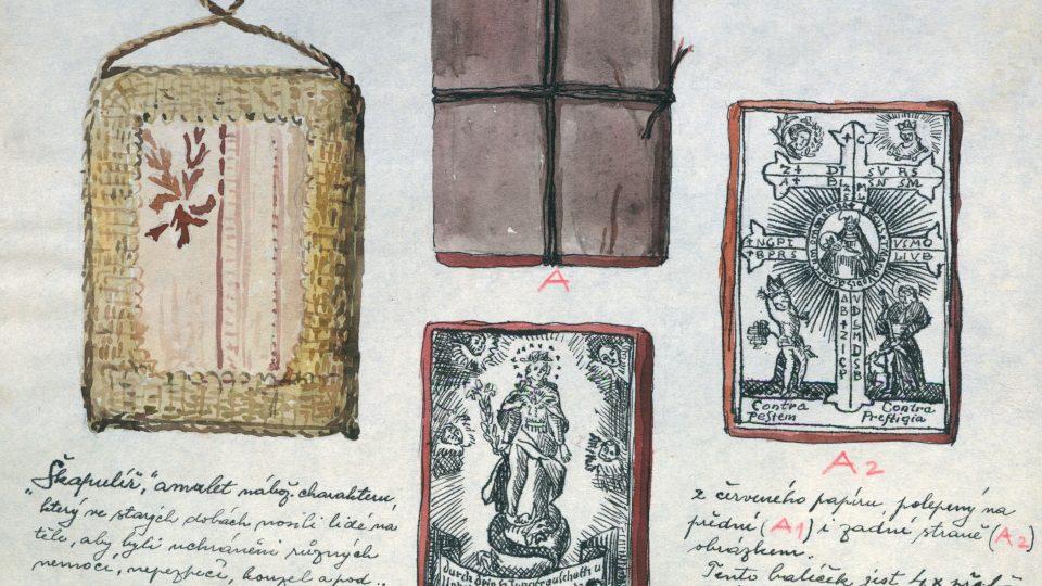 Nákres podoby a obsahu jednoho ze škapulířů ve sbírkách Národopisného muzea Plzeňska, pořízený ve 20. letech 20. století. Obdobná struktura tohoto typu škapulířů by mohla svědčit o praxi jejich sériového zhotovování.