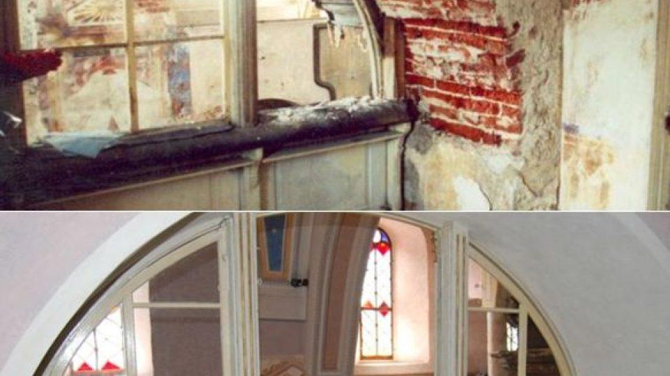 Oratoř před a po opravě