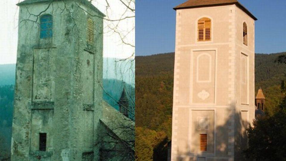 Věž kostela před opravou a po opravě