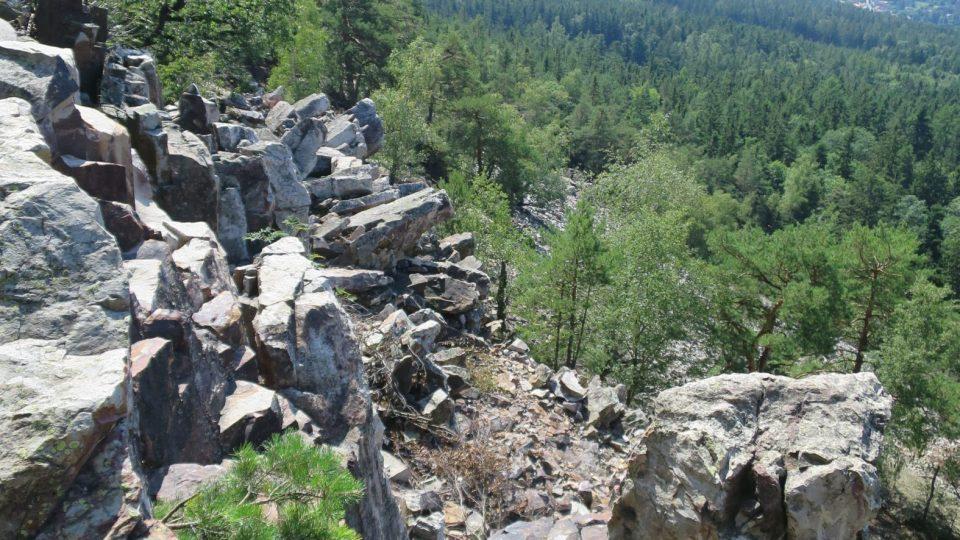 Západní strana Plešivce je jedinečná tím, že je velmi strmá a pokrytá širokým kamenným mořem