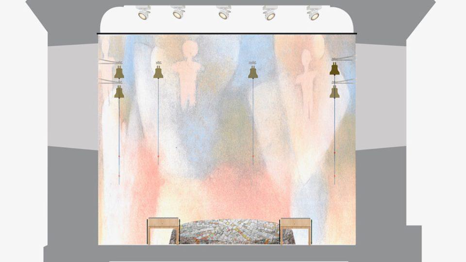 Celý vnitřní prostor kaple má symbolizovat přechod mezi nebem a zemí