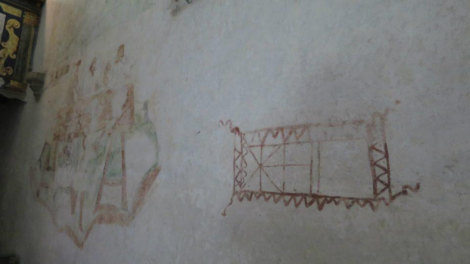 Záhadný obrazec na stěně lodi kostela sv. Bartoloměje