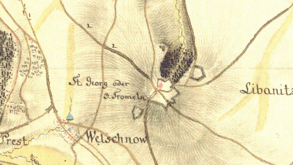 Zákres vojenské pevnosti u osady Tři Bubny na mapě 1. vojenského mapování z 18. století