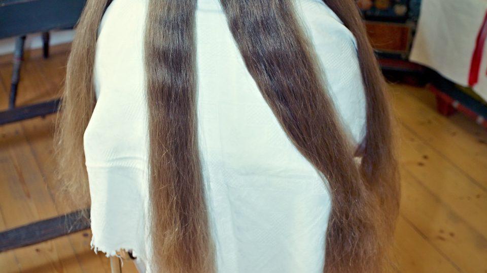 Fotografie dokumentuje pravidelné rozdělení vlasů na 4 části