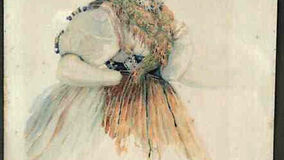 Nevěsta v plzeňském kroji dle studie od V. Kroupy z roku 1847, maloval R. Jindřich, prodáno do Národopisného muzea Plzeňska v roce 1929