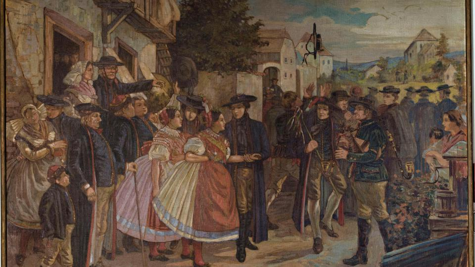 Obraz Svatba v Kalikovském mlýně, namaloval R. Jindřich v letech 1825 – 1895, obraz namalován dle originálu od V. kroupy z roku 1847, originál se nalézá v Západočeské galerii v Plzni