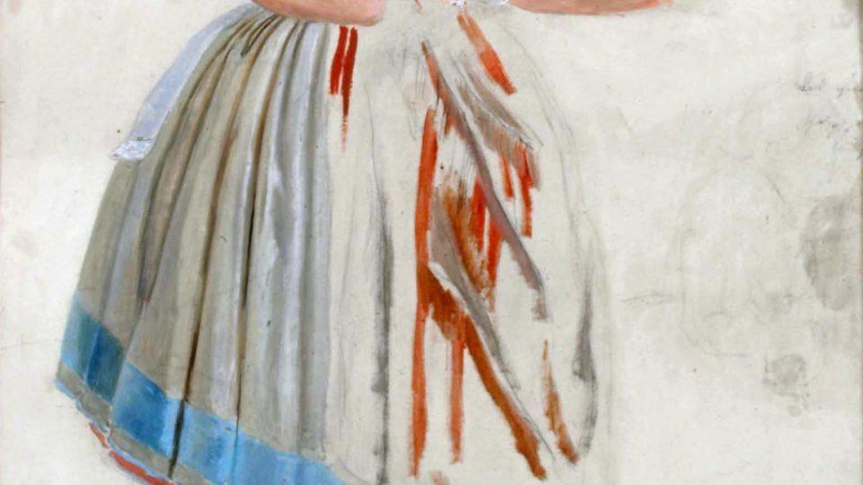 Nevěsta v plzeňském kroji dle studie od V. Kroupy z roku 1847
