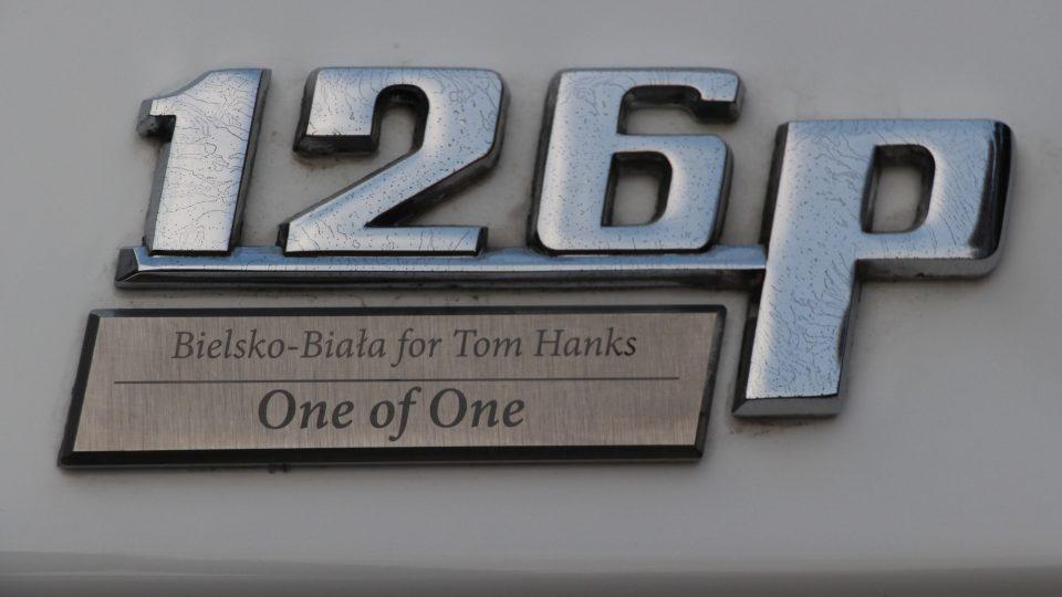 Štítek s věnováním pro Toma Hankse